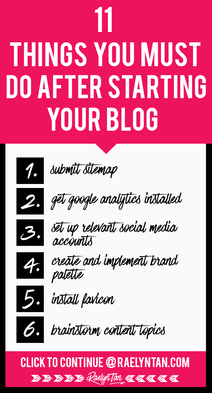 11 things to do after starting a blog: Want to make money from your blog? Here are 11 essential things that beginner bloggers + entrepreneurs absolutely have to do for their business. #blog #beginner #tips