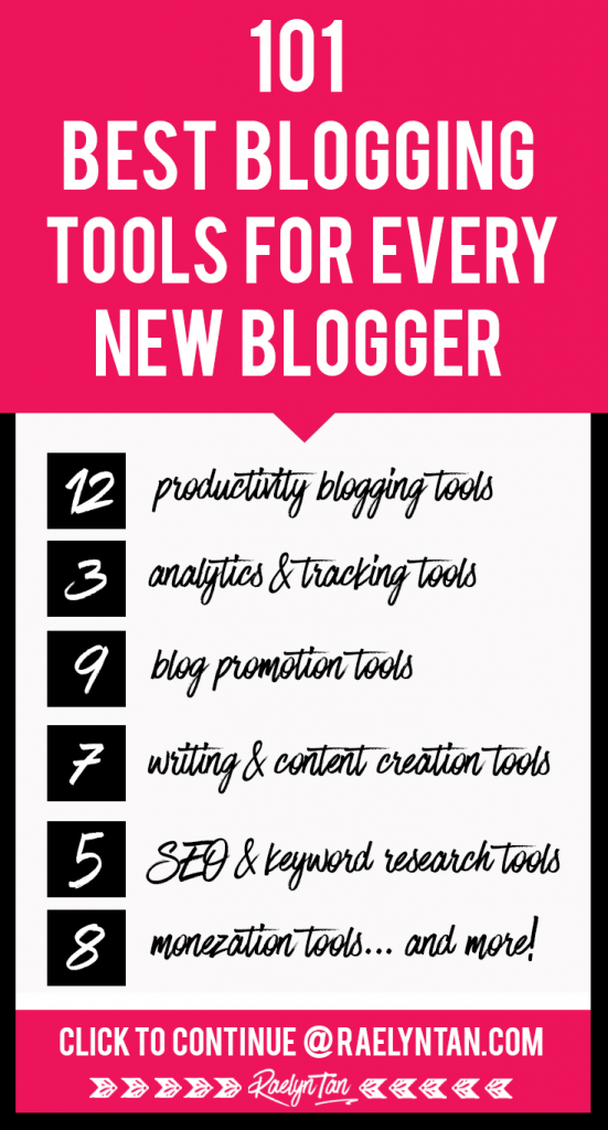 101 BEST BLOGGING TOOLS FOR EVERY NEW BLOGGER: Grow your social media following, make money with your blog + business, and more! Get recommendations and tips about the top tools entrepreneurs love and use for their marketing online. #best #blogging #tools