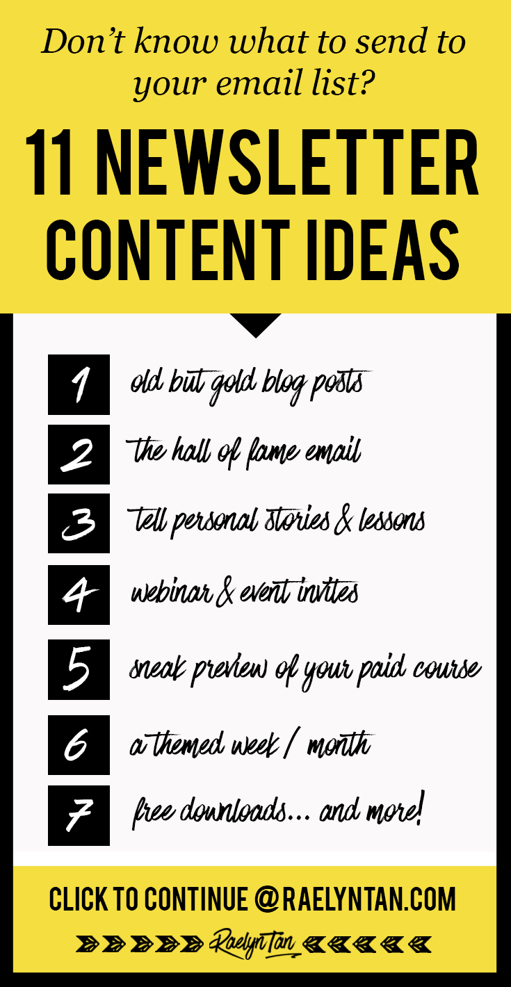 Newsletter content ideas for you? Grow your email list and get more subscribers with these email content tips! Keep your list engaged and nurture your blog audience! #newsletter #content #ideas #email #list