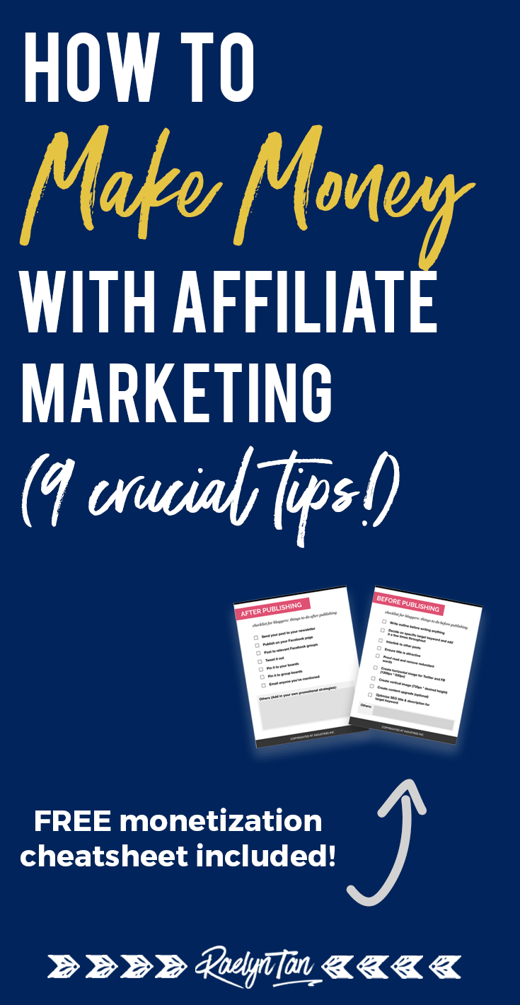 How to make money with affiliate marketing: 9 tips for beginner bloggers, along with lots of ideas on how to make passive income with affiliate marketing! #make #money #affiliate #marketing