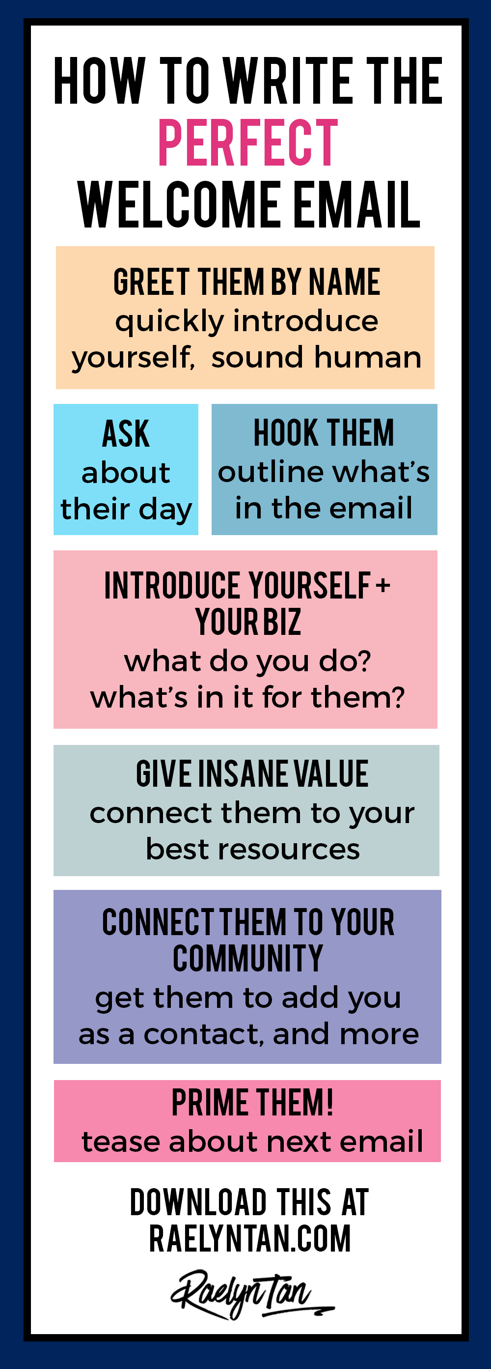 How to write the perfect welcome email, with examples and a printable template included! Write an engaging welcome email for your blog + business and start your newsletter marketing on an amazing note! #welcome #email #template