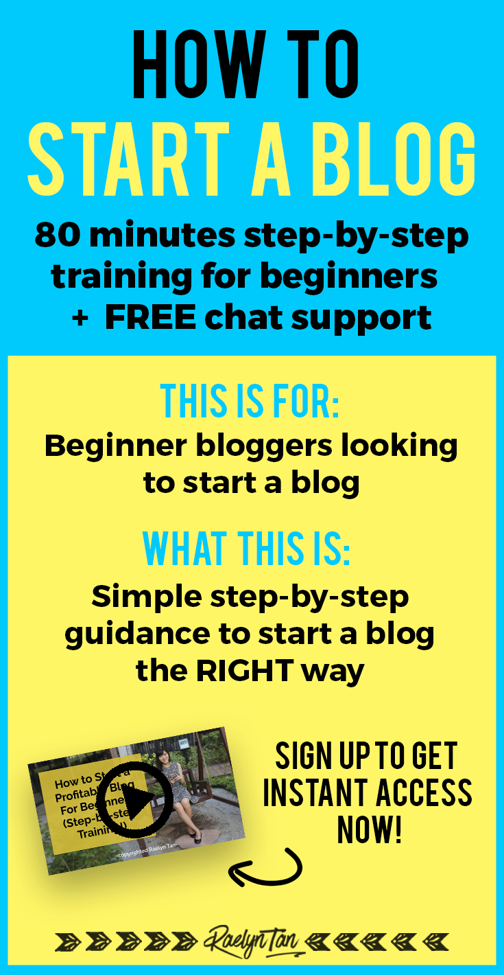Hey, beginner blogger! Do you want my FREE 80-minute step-by-step training where you\'ll learn exactly how you can start a blog, the right way?