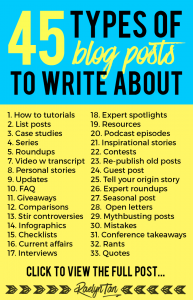 Have you been writing the same type of blog post again and again? Here are 45 different types of blog posts you can use on your blog that works! Get fresh ideas and tips to write content with ease!