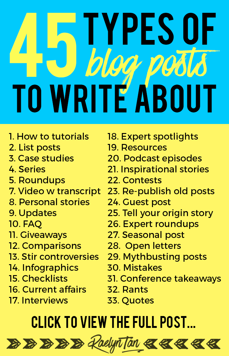 45 Different Types of Blog Posts You Can Write About