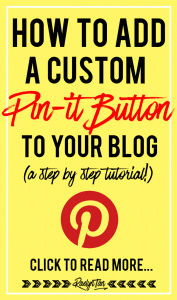 "Here's how you can get a custom ""Pin it"" button to appear on your images when someone hovers on one of your images. This is a complete step-by-step tutorial!"
